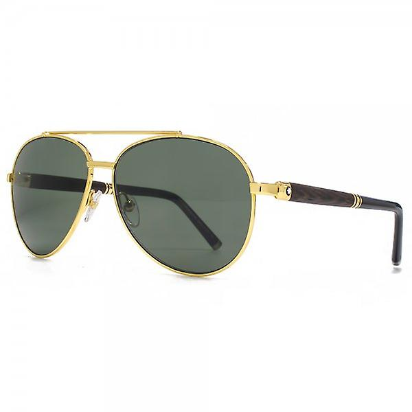 Montblanc Wooden Temple Aviator Sunglasses In Gold