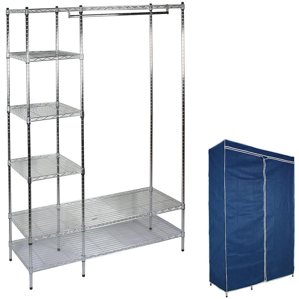 Titus - Metal Frame Double Wardrobe With Cover - Blue / Silver
