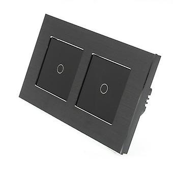 I LumoS Black Brushed Aluminium Double Frame 2 Gang 2 Way Remote & Dimmer Touch LED Light Switch Black Insert