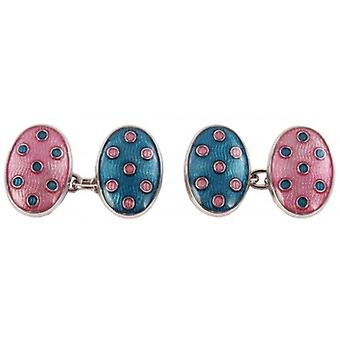 David Aster Double Oval Chain Link Cufflinks - Blue/Pink
