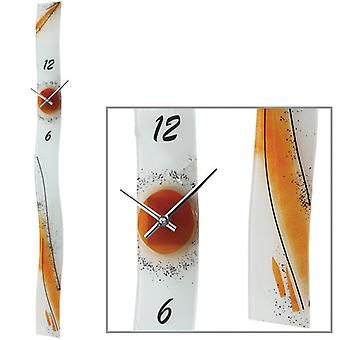 Wall clock quartz watch Sun orange handmade float glass 95 x 8 x 7 cm