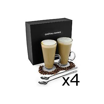 Andrew James 8 Latte Glass Set