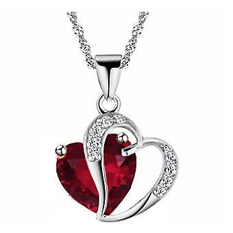 Boolavard® TM mode Osterreic tjeckiska Crystal Heart form hängande halsband + gåva rutan Ruby-Red...