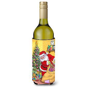Christmas Santa and His Toys Wine Bottle Beverage Insulator Hugger