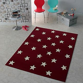 Design Velours Teppich Sterne Rot 140x200 cm | 102164