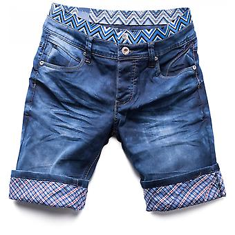 Men's Denim shorts short jeans stretch pants dark blue checkered Waikiki