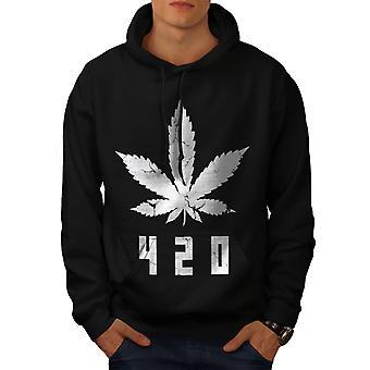 White Cannabis Leaf Men BlackHoodie | Wellcoda