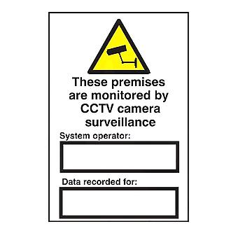 ASEC `These Premises Are Monitored By CCTV Surveillance` 200mm X 300mm PVC Self Adhesive Sign