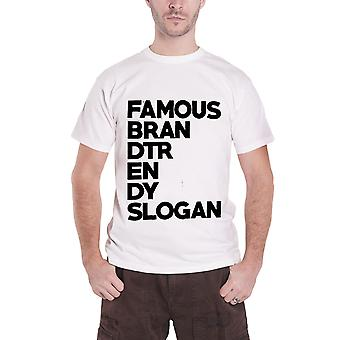 Slogan T Shirt Famous Brand Trend Slogan Block Logo Official Mens New White