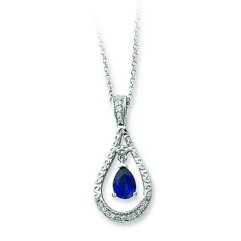 Sterling Silver September Created Sapphire Necklace - 1/2 Inch x 1 Inch comes with 18 Inch chain
