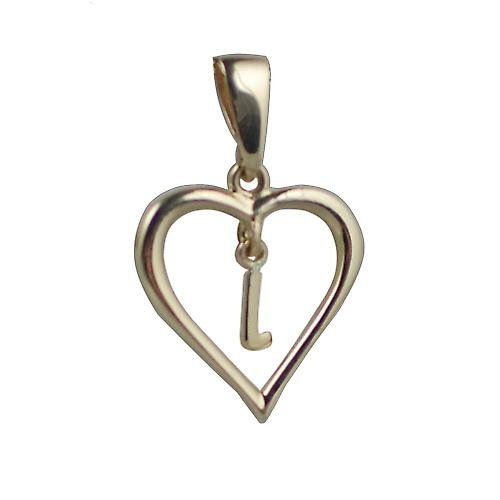 9ct Gold 18x18mm heart Pendant with a hanging Initial L