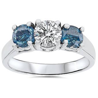 1 3/4 ct ブルー ・ ホワイト ダイヤモンド 3 石 14 K ホワイトゴールドの指輪