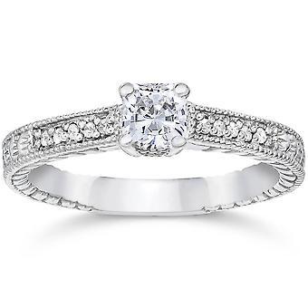 1 / 2ct Princess Cut diamant förlovningsring 14K vitguld