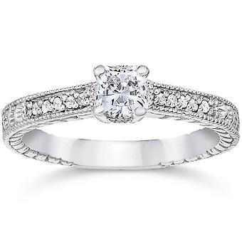 1/2ct Princess Cut Diamond Engagement Ring 14K White Gold