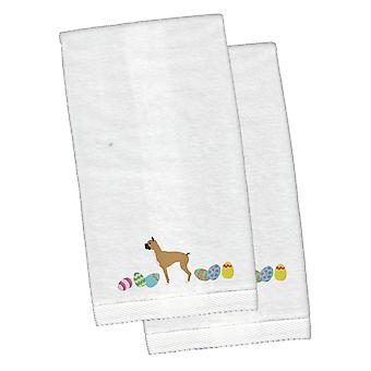 Boxer Easter White Embroidered Plush Hand Towel Set of 2