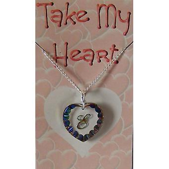 Heliotrope Initial Heart Crystal Pendant - E