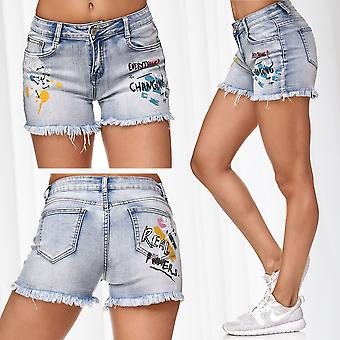 Ladie's Jeans Shorts Frayed Statement Graffiti Hot Pants Print Hipsters Artwork