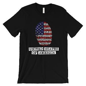 USA Fingerprint Flag Mens Black T-Shirt Funny Graphic Shirt For Him