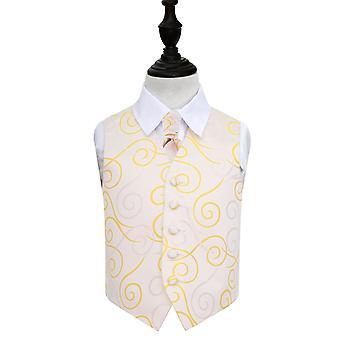 Goldene Schriftrolle Hochzeit Weste & Krawatte Set für jungen