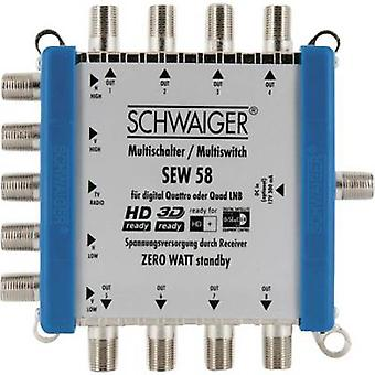 Schwaiger SEW58 531 SAT multiswitch Inputs (multiswitches): 5 (4 SAT/1 terrestrial) No. of participants: 8 Standby mode