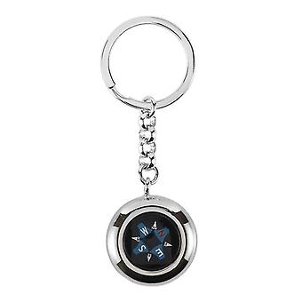 Orton West Compass Key Ring - Silver