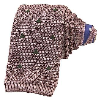40 Colori Embroidered Triangles Silk Knitted Tie - Pink/Military Green