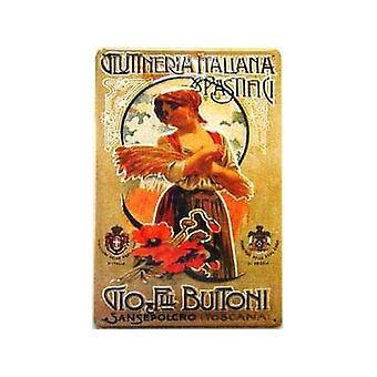 Buitoni Pastifici Italian Embossed Steel Sign 200Mm X 300Mm