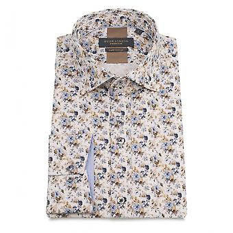 Guide London Sky Cotton Sateen Mens Shirt With A Multi Floral Motif Print