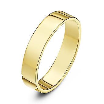 Star Wedding Rings 9ct Yellow Gold Light Flat Court Shape 4mm Wedding Ring