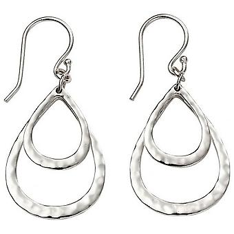 Beginnings Hammered Double Teardrop Drop Earrings - Silver