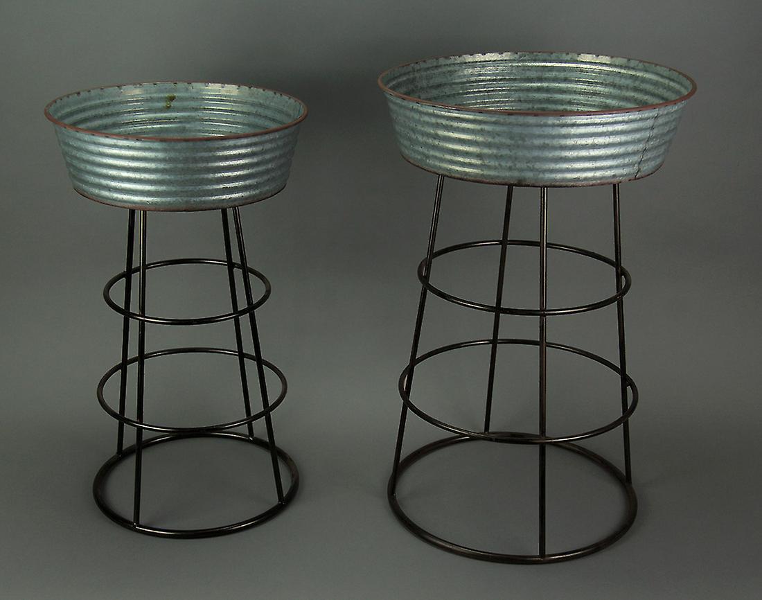 Rustic Galvanized Metal 2 Piece Round Wash Tub Planter Stand Set