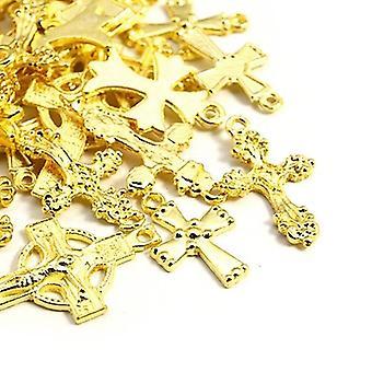 Packet 30 Grams Antique Gold Tibetan 5-40mm Cross Charm/Pendant Mix HA12370
