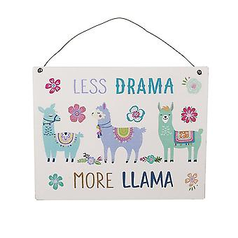 LESS DRAMA MORE LLAMA Colourful Metal Sign Llama Lover Gift