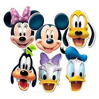 Mickey Mouse and Friends Card Face Masks Set of 6 (Mickey, Minnie, Donald, Goofy, Pluto and Daisy)