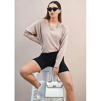 Oversized Knit Batwing Jumper Dress Beige