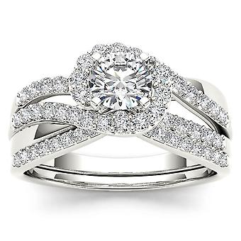 IGI Certified 14k White Gold 1.00 Ct Natural Diamond Bypass Engagement Ring Set