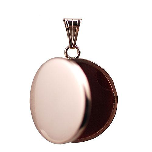 9ct Rose Gold 23mm round flat plain Locket