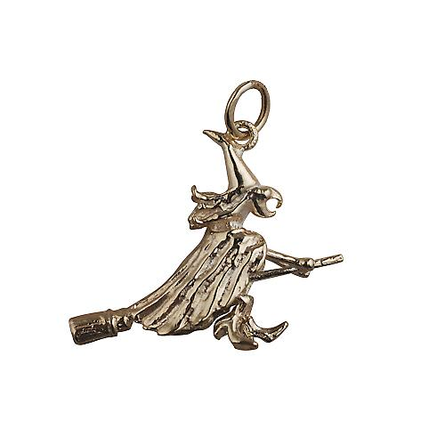 9ct Gold 15x25mm solid Witch on a Broomstick Pendant or Charm