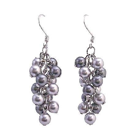 Swarovski Grey Pearls Earrings Lite & Dark Grey Pearls Earrings