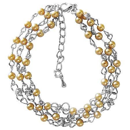 Three stranded Bracelet Gold Pearls Cubic Zircon Stud Spacer Bracelet