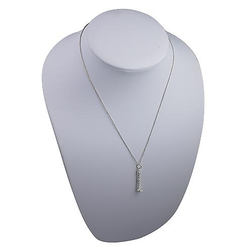 Silver 7x29mm solid GPO Tower Pendant with a Rolo Chain 18 inches