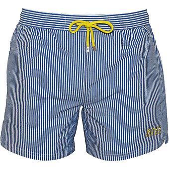 Boss Striped Seersucker Swim Shorts, Blue