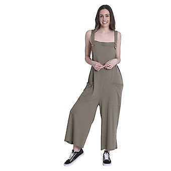 Ladies Loose Fit Cotton Jersey Dungarees - Green Lightweight One Size Wide Leg O
