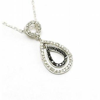 Toc Sterling Silver and Cz Hanging Tear Drop Pendant on 16 Inch Chain