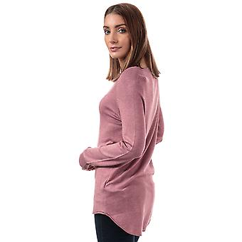 Womens Only Mila Lacy Longline Jumper In Mesa Rose- Wide Round Neck