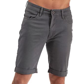 Heren arcering Black Label Cottrell Chino shorts in houtskool-zip Fly-Turn up