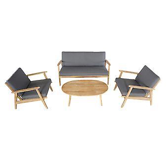 Confortable jardin Narvik salon 151x110x75 cm-brun