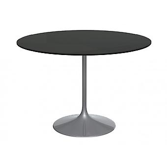 Gillmore Space Pedestal Large Dining Table Black Glass And Smoked Chrome