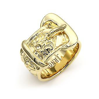 Jewelco London Mens Solid Brass Heavy Weight Single Buckle Ring 20mm Taille Z-1
