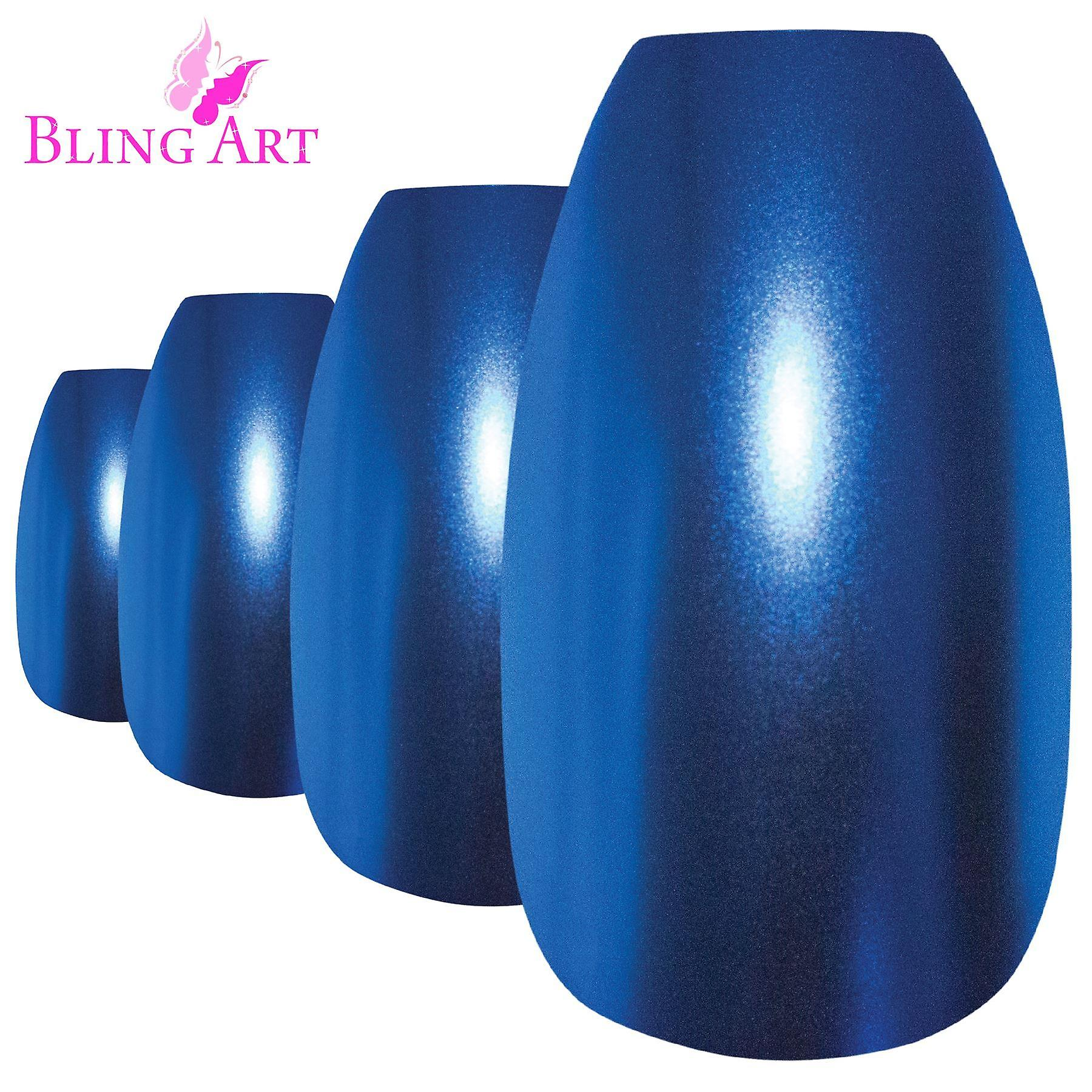 False nails by bling art blue matte metallic ballerina coffin fake acrylic tips